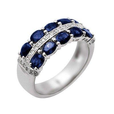 GENUINE 2.72 ctw DIAMOND and BLUE SAPPHIRE RING 14K WHI