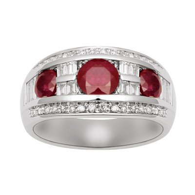 GENUINE 3 ctw DIAMOND and RUBY RING 14K WHITE GOLD