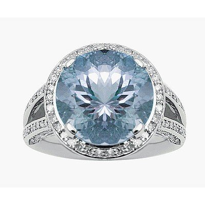 GENUINE 6.87 ctw DIAMOND and BLUE TOPAZ RING 14K WHITE