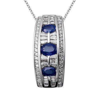 GENUINE 3.2 ctw DIAMOND and BLUE SAPPHIRE PENDANT 14K W