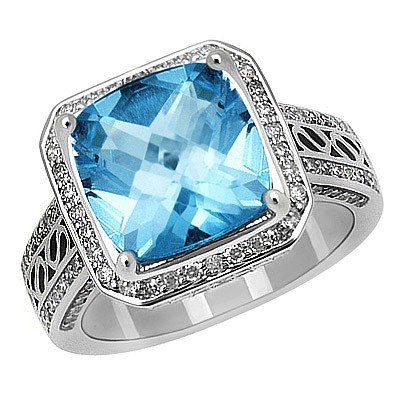 GENUINE 11.75 ctw DIAMOND and BLUE TOPAZ RING 14K WHITE
