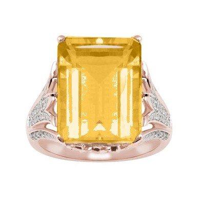 GENUINE 11.6 ctw DIAMOND and CITRINE RING 14K ROSE GOLD