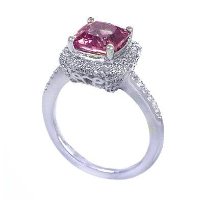 GENUINE 2.47 ctw DIAMOND and PINK AMETHYST RING 14K WHI