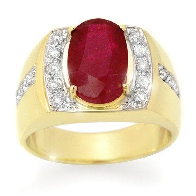 Genuine 6.33 ctw Ruby & Diamond Men's Ring Yellow Gold