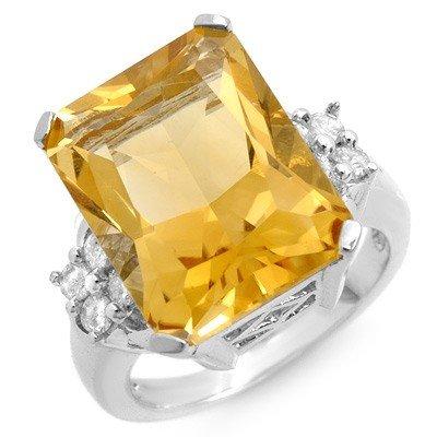 Genuine 10.5 ctw Citrine & Diamond Ring 10k Gold