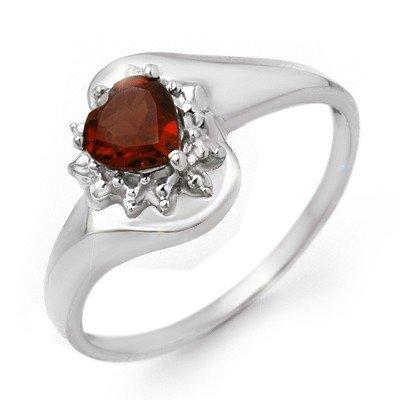 Genuine 0.52 ctw Garnet & Diamond Ring 10K White Gold