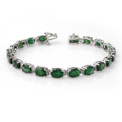 Genuine 16.25 ctw Emerald Bracelet 10K White Gold