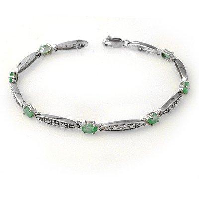 Genuine 2.07 ctw Emerald & Diamond Bracelet White Gold