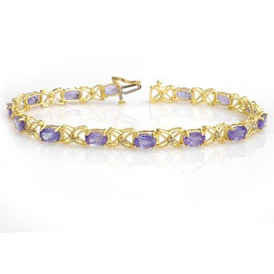 Genuine 8.65 ctw Tanzanite & Diamond Bracelet 14K Gold