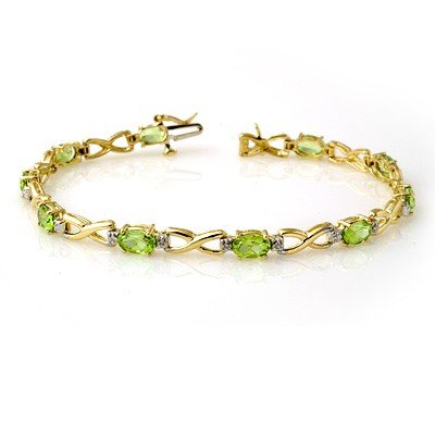 Genuine 5.03 ctw Peridot & Diamond Bracelet Yellow Gold