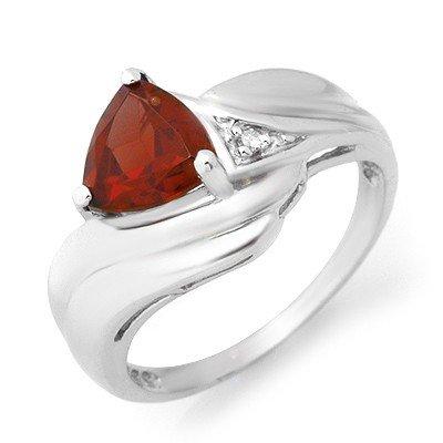 Genuine 1.28 ctw Garnet & Diamond Ring 10K White Gold
