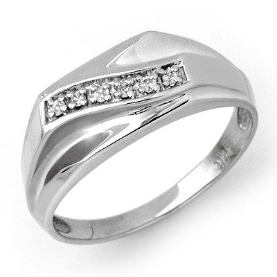Natural 0.06 ctw Diamond Men's Ring 10K White Gold