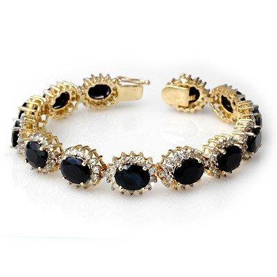 Genuine 35.69 ctw Sapphire & Diamond Bracelet 14K Gold