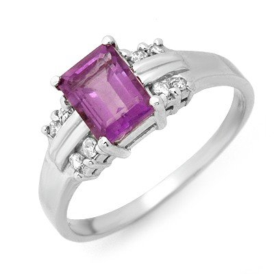 Genuine 1.41 ctw Amethyst & Diamond Ring 10K White Gold