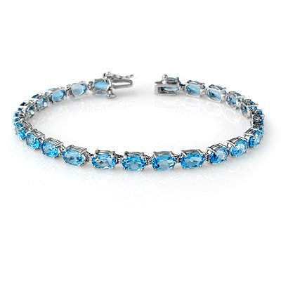 Genuine 12.9 ctw Blue Topaz Bracelet 10K White Gold