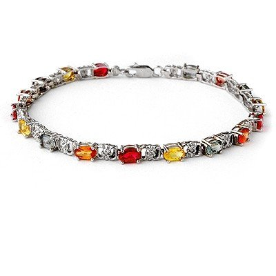 Genuine 6.72 ctw Multi-Sapphire & Diamond Bracelet Gold