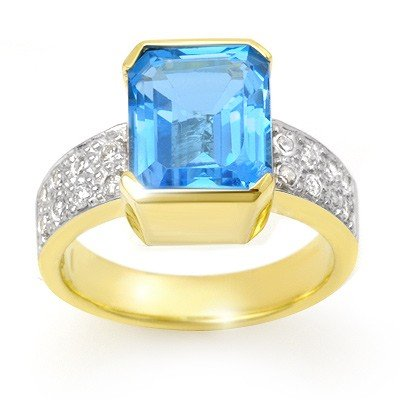 Genuine 7.26 ctw Blue Topaz & Diamond Ring 14K Gold