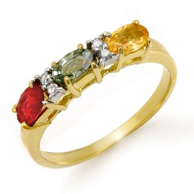Genuine 1.10 ctw Multi-Sapphire & Diamond Ring 10K Gold