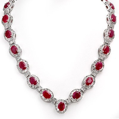 Genuine 39.70 ctw Ruby & Diamond Necklace 14K Gold
