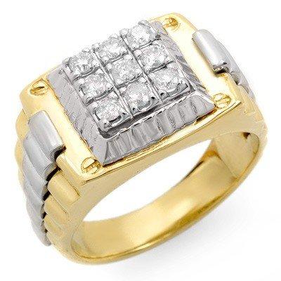 Natural 0.50 ctw Diamond Men's Ring 10K Multi tone Gold