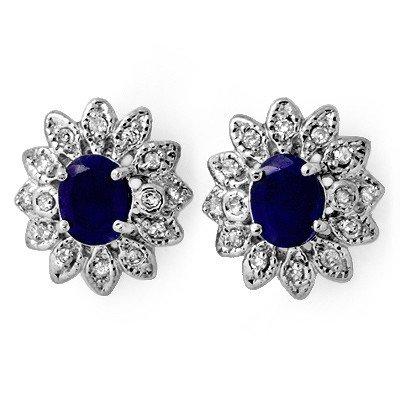 Genuine 3.0ct Sapphire & Diamond Stud Earrings 14K Gold