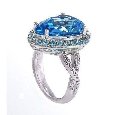 GENUINE 12.2 ctw DIAMOND and BLUE TOPAZ RING 14K WHITE
