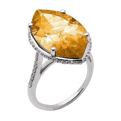 GENUINE 9.3 ctw DIAMOND and CITRINE RING 14K WHITE GOLD