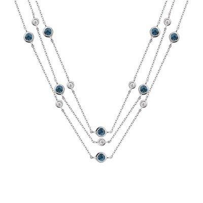 GENUINE 1.15 ctw DIAMOND and BLUE SAPPHIRE NECKLACE 14K
