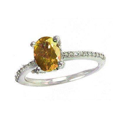 GENUINE 1.6 ctw DIAMOND and CITRINE RING 14K WHITE GOLD
