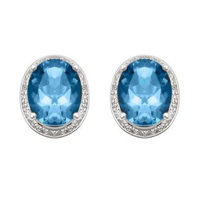 GENUINE 9.75 ctw DIAMOND and BLUE TOPAZ EARRINGS 14K WH