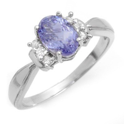 Genuine 1.06 ctw Tanzanite & Diamond Ring 10K Gold
