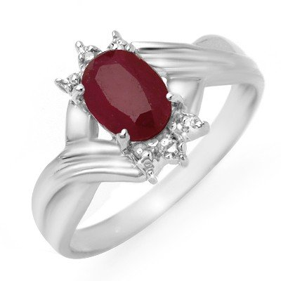 Genuine 1.12 ctw Ruby & Diamond Ring 10K White Gold