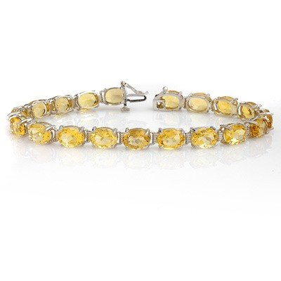 Genuine 25.67 ctw Citrine Bracelet 10K White Gold