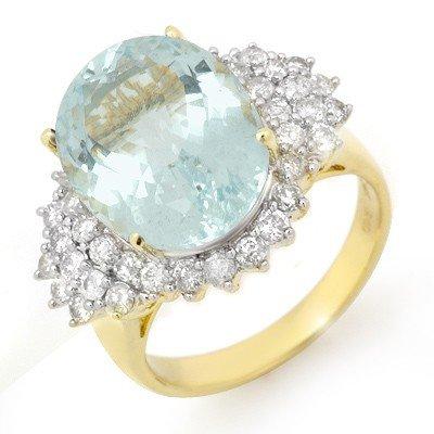 Genuine 9.25 ctw Aquamarine & Diamond Ring 14K Gold
