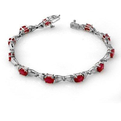 Genuine 7.11 ctw Ruby & Diamond Bracelet White Gold