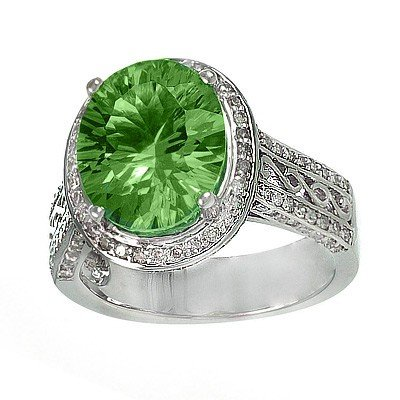 GENUINE 9.75 ctw DIAMOND and PERIDOT RING 14K WHITE GOL