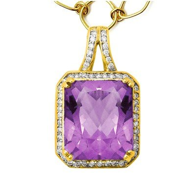 GENUINE 8.35 ctw DIAMOND and AMETHYST  PENDANT 14K YELL