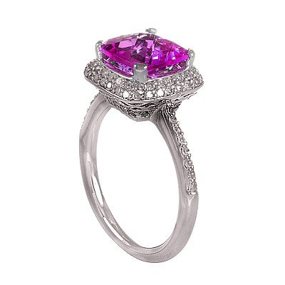 GENUINE 2.94 ctw DIAMOND and AMETHYST RING 14K WHITE GO