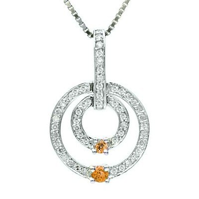 GENUINE 0.5 ctw DIAMOND and CITRINE  PENDANT 14K WHITE