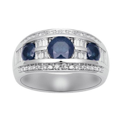 GENUINE 3 ctw DIAMOND and BLUE SAPPHIRE RING 14K WHITE