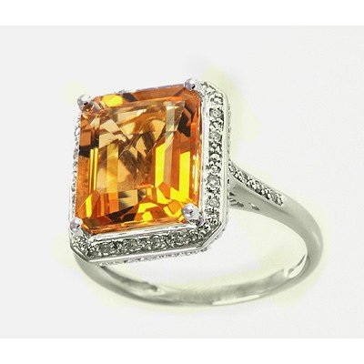 GENUINE 6.13 ctw DIAMOND and CITRINE RING 14K WHITE GOL