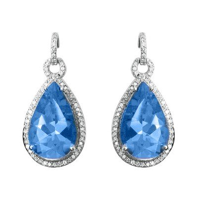 GENUINE 10.65 ctw DIAMOND and BLUE TOPAZ EARRINGS 14K W