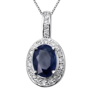 GENUINE 1.12 ctw DIAMOND and BLUE SAPPHIRE PENDANT 14K