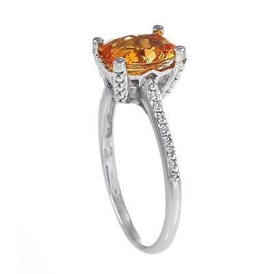 GENUINE 1 ctw CITRINE RING 14K WHITE GOLD