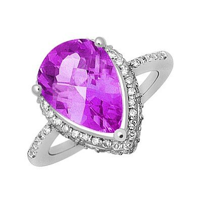 GENUINE 4.17 ctw DIAMOND and AMETHYST RING 14K WHITE GO