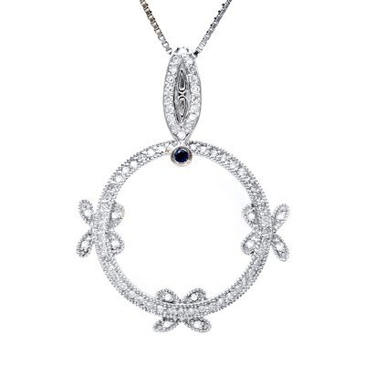 GENUINE 0.49 ctw DIAMOND and BLUE SAPPHIRE PENDANT 14K
