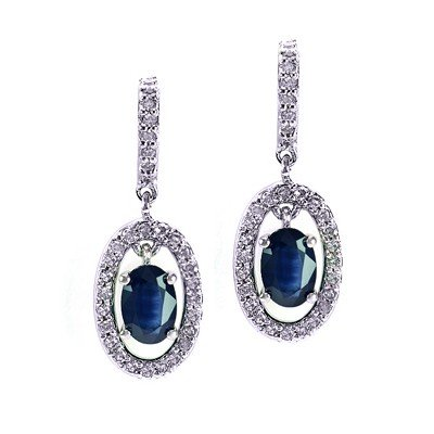 GENUINE 2.18 ctw DIAMOND and BLUE SAPPHIRE EARRINGS 14K