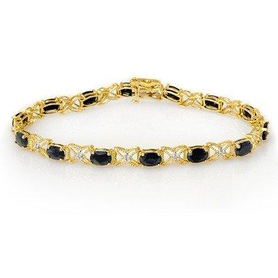 Genuine 10.81 ctw Sapphire & Diamond Bracelet 14K Gold