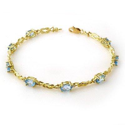 Genuine 5.07 ctw Blue Topaz & Diamond Bracelet 10K Gold