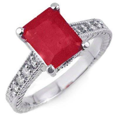 Genuine 2.35ctw Rubellite & Diamond Ring 14K White Gold